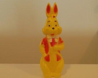 Yellow Plastic Easter Bunny Bank Rabbit Toy