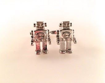 Robot Cuff Links, Robby the Robot Cuff Links, Men's Cuff Links, Wedding Cuff Links, Father's Day Cuff Links