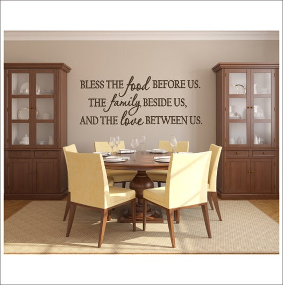 Bless the food vinyl decal wall decal vinyl wall decor dining for Dining room vinyl wall art