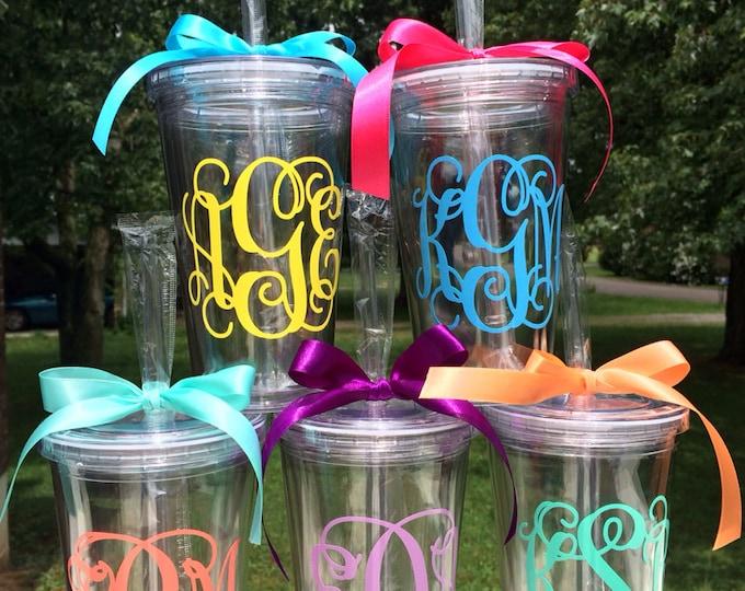 Vine Monogram Tumber Vine Monogram Cup Personalized Custom Preppy Cup 16 oz Tumbler Cup Monogram Acrylic Cup Women Girls Teens Gift