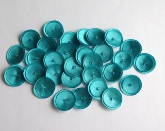 30 Turquoise Blue Satin Mini Poppies Embellishment