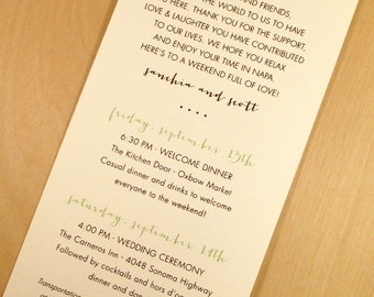 Wedding Weekend Printed  | Wedding Itinerary | Printed and Designed by Darby Cards