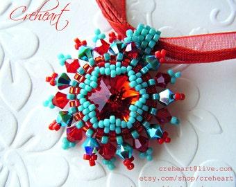 Handmade Pendnat - Swarovski Crystals - Rivoli, Red, Siam, Bicones, Pin Up
