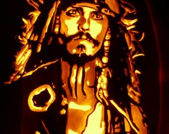 Captain Jack Sparrow hand-carved on a foam pumpkin for Halloween decorating