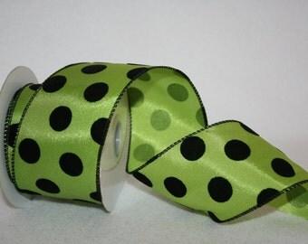 Lime Green and Black Polka Dot Ribbon - 2.5 Inches x 10YD - Polka Dot Ribbon : 90227W-204