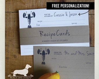 Lobster. Free Personalization. A Baker's Dozen (Qty 13) Set of Recipe Cards -- (3x5, 4x6, Ocean, Sea, Wedding Gift, Bridal Shower Favor)
