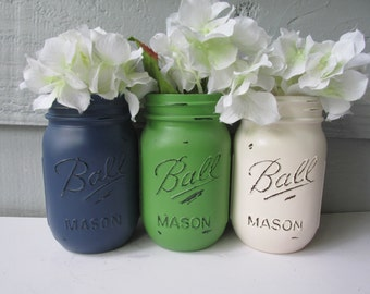 FALL-Painted and Distressed Ball Mason Jars- Dark Navy Blue, Bright Green, Cream-Set-Neutrals, Flower Vases, Rustic Wedding, Centerpieces