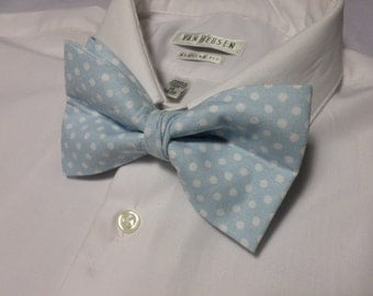 Baby Blue and White Polka Dot Bowtie
