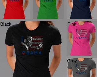 Women's T-shirt - President Barack Obama Created Out of - All Lyrics to America the Beautiful