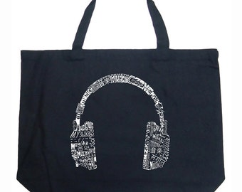Large Tote Bag - Headphones - Languages - Created using the word Music in different languages