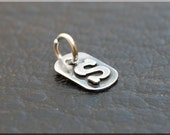 Sterling Silver Monogram Charm, Personalized Jewelry, Initial Charm, Mixed metal initial tag, Gold Initial charm, Mixed Metal Initial charm