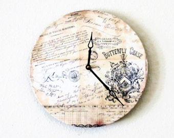 Shabby Chic Wall Clock, Home Decor, Butterfly Chase, Unique Wall Clock,  Decor and Housewares, Home and Living