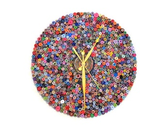 Oversize Wall Clock, Recycled Art, Home and Living, Paper Clock, Eco Friendly Decor,  Home Decor