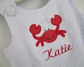 blue seersucker with embroidered crab girls or boys bubble romper/sunsuit