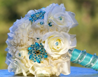 Brooch Bouquet Aqua Blue Ivory White Silk Rose Bridal