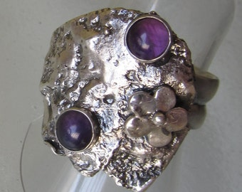 Reticulated Silver Amethyst Ring - Unique designed ring - Ready to Ship Size 7 1/2 - Artistic jewelry - Made in Israel