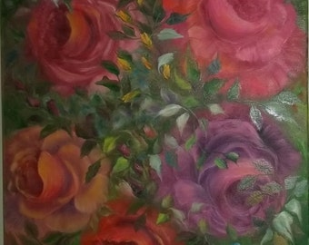 Rose Blast, Original Oil, 18 x 24 canvas. free ship
