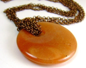 Red Aventurine and Copper Rolo Chain Gemstone Necklace for Prosperity