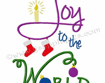 Instant Download - Christmas Designs Christian saying Embroidery Design - Joy to the World 4x4, 5x7, 6x10 hoop sizes