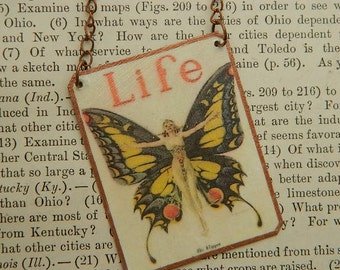 Life necklace butterfly art JC Leyendeker simply stated mixed media jewelry