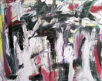 Gray Study, 7-2-14 (abstract expressionist painting, black, white,, maroon. silver, red)