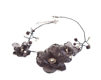 Womens Elegant Jewelry Floral Handmade Brown Organza Flower Necklace with Crystal Center