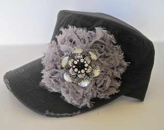 Grey Cadet Military Distressed Army Hat with a Grey Shabby Frayed  Flower and a Silver and Rhinestone Brooch Accent