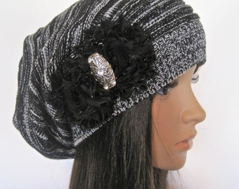 Black and White Knit Slouch Beanie Winter Hat With Black Chiffon Flowers and Vintage Look Silver and Rhinestone Accent