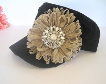 Black Cadet Military Distressed Army hat with Ribbon Petal Flower and a Gorgeous Rhinestone and Pearl Brooch Accent