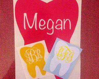 Dental Tooth Monogram Vinyl Decal