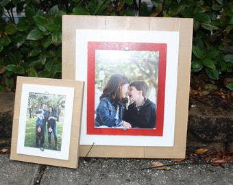 Distressed Picture Frames, Wall College, 8x10 Frame, 5x7 Frames, Painted Wood Frames, Red Frame