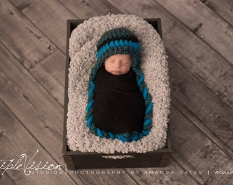 Newborn Simple Blue Tone Ear Flap Hat Photo Prop 0-12 Months