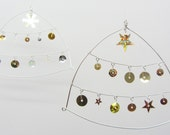 Silver plated wire and sequin Christmas ornament for tree or home / winter wedding decor - dangle, shimmer, twinkle, sparkle.