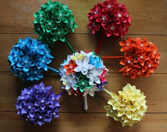Rainbow Wedding Set - Kusudama Paper Flowers, wedding package, bridal bouquet, bridesmaids bouquets, groom, boutonierres