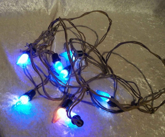 Vintage Christmas Lights C6 Sage Green Cloth Wire With 8 Queen