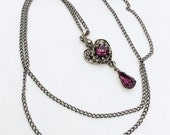 Amethyst Glass Heart Pendant Necklace 1960s Vintage Jewelry
