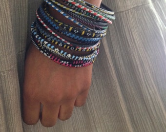Skinny  Tribal African stackable colorful bracelets bangles- set of 10