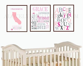 personalized baby stats, baby girl birth stats, nursery subway art with birth date print stats set of 3