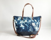 Indigo Shibori and Canvas Zipper Shopper or Diaper Bag - SKYE - Large Shibori Dyed Denim and Waxed Canvas Purse  Zipped Tote LEATHER straps