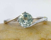 Pale Green Amethyst Solitare Ring in 925 Sterling Silver. Light Green Amethyst Engagement Ring - made to order in your ring size.
