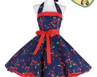 50's vintage dress classic cherry dark blue red classic Tailor Made after your measurements #0055