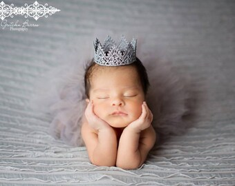 Sliver Gray Tutu and Matching Sliver Lace Crown (SET) - NEWBORN size - Beautiful Newborn Girl Photo Prop and Keepsake