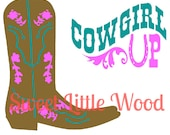 "Cowgirl Boot ""Cowgirl Up"" svg- 2 x digital SVG file in black line format and color format, JPEG and PNG image"
