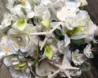 Seashell Bling Bridal Bouquet with Garden Roses Orchids Hydrangea and Silver Rhinestone Trimmed Pearl Accents