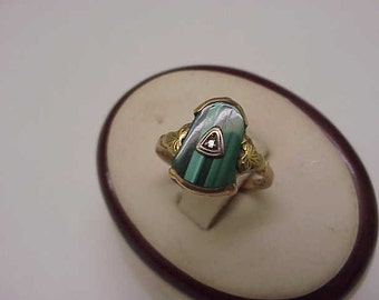 Antique Victorian 10k Rosey  Genuine Malachite  Diamond ring, late 1800's