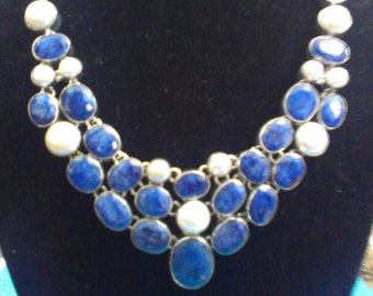 Stunning Blue Sapphire with Button Pearl Silver Sterling Necklace