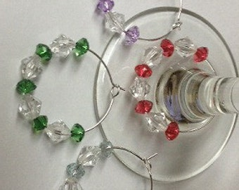 Beaded Wine Charms Wine Glass Charms For Set of Four