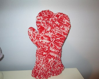 Red + White Adult Mittens