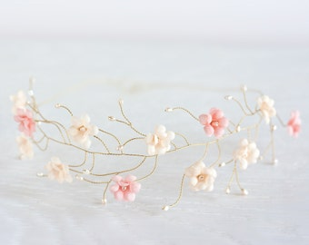 23_Pink flower crown, Gold hair accessories, Tiara flowers, Bridal headband, First Communion head piece, Circlet of flowers, Flower halo.