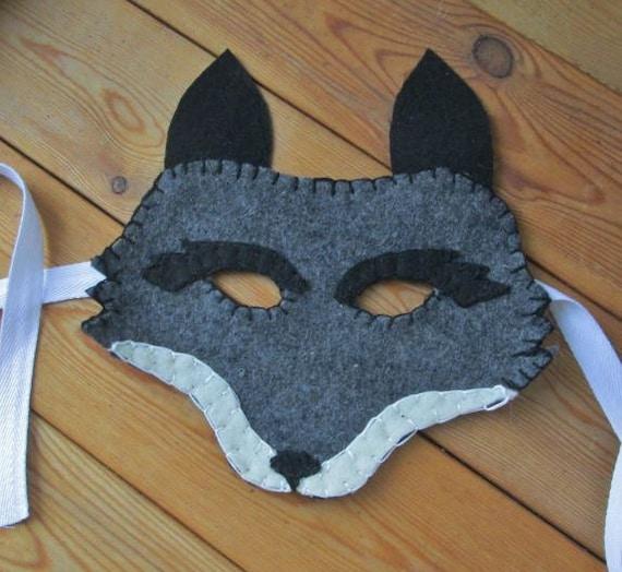 graue wolf coyote filz maske realistische tier fox kost m. Black Bedroom Furniture Sets. Home Design Ideas
